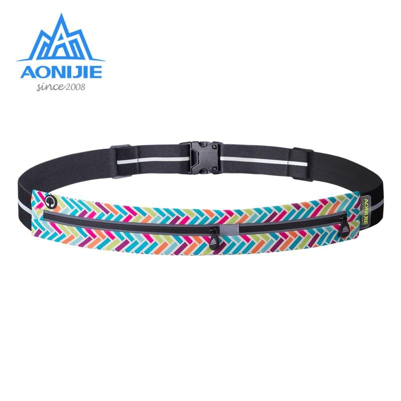 AONIJIE W960 Adjustable Slim Double Pockets Running Waist Belt Jogging Bag Fanny Pack Travel Workout Fitness 6.8in Phone Holder