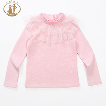 New Fashion Girl Sweaters Ivory Pink Turtleneck Long Sleeve Knitted Cute Girls Bottoming Shirt And Kid Girls Sweater