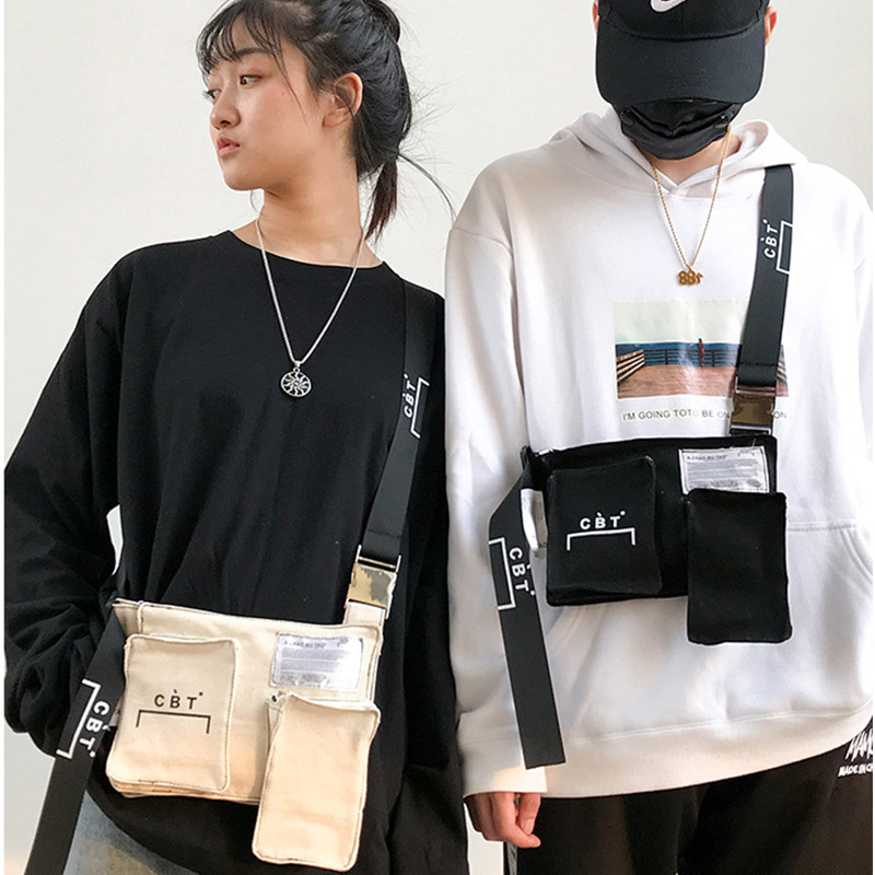 Canvas Shoulder Bag Small Chest Chest Bag Personality Tactical Bags Unisex Hip-hop Small Shoulder Bags Phone Purse 27
