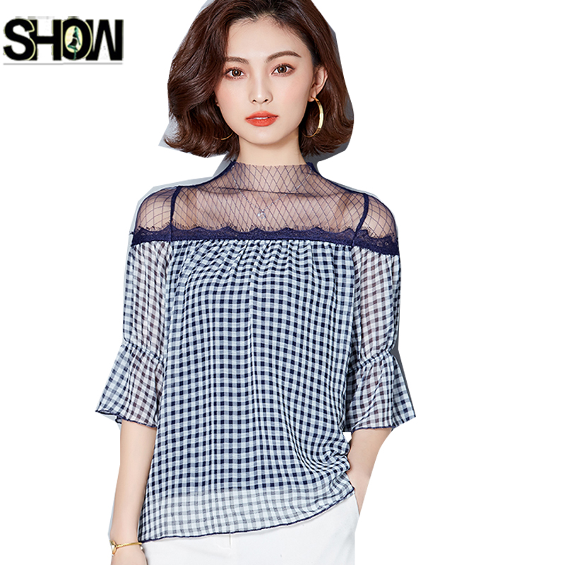Womens Sexy Sheer See Through Short Sleeve Mesh Tops Blouse Shirts Office Lace Off Shoulder Top Flare Sleeve Plaid Shirt 2225 Lovely Luster Women's Clothing