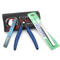 3 IN 1 Vape Strumento Tool Kit Kit di Cotone Organico RTA RDA Costruzione Coil Jig Filo Cacciavite Forbici Pinze di Ceramica pinzette