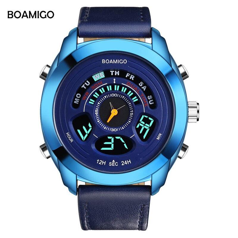 BOAMIGO Mens Watches Top Brand Luxury Quartz Dual Display Sports Watch Fashion Blue Wristwatch Anniversary Gifts For Husband