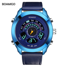 BOAMIGO Mens Watches Top Brand Luxury Quartz Dual Display Sports Watch Fashion Blue Wristwatch Anniversary Gifts for Husband