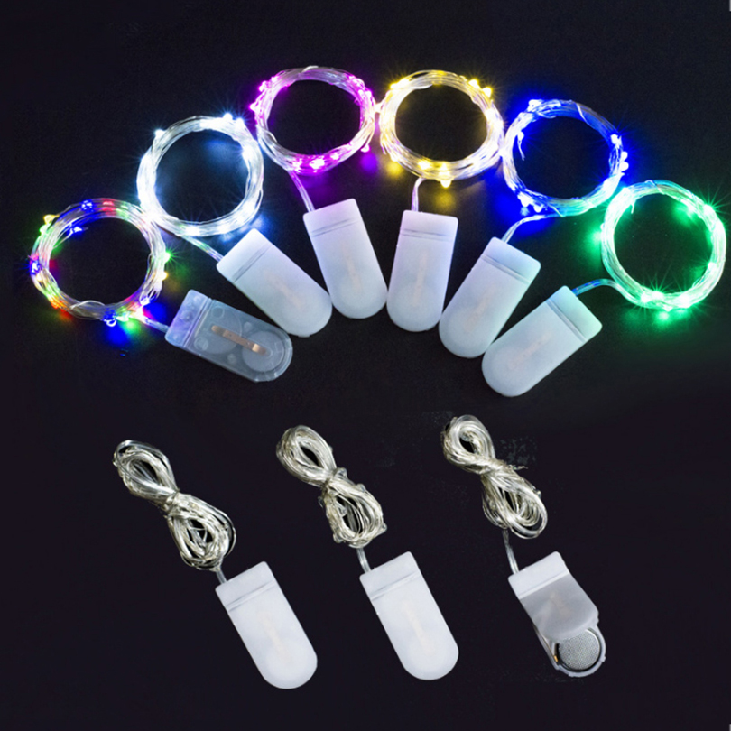 LED String Fairy Lights 1M 10 Leds CR2032 Button Battery Operated LED Christmas Lights Holiday Wedding Party Decoration Garland