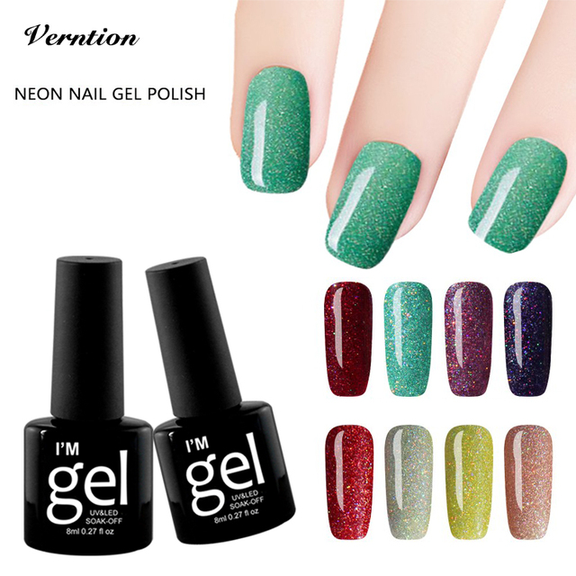 Verntion Colorful Neon Gel Nail Polish Led Lamp for Manicure Soak ...