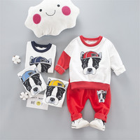 Spring Baby 2Pcs Clothes Sets Kids Boy Girl Cartoon Dog Asymmetric T Shirt Pants Children Sports