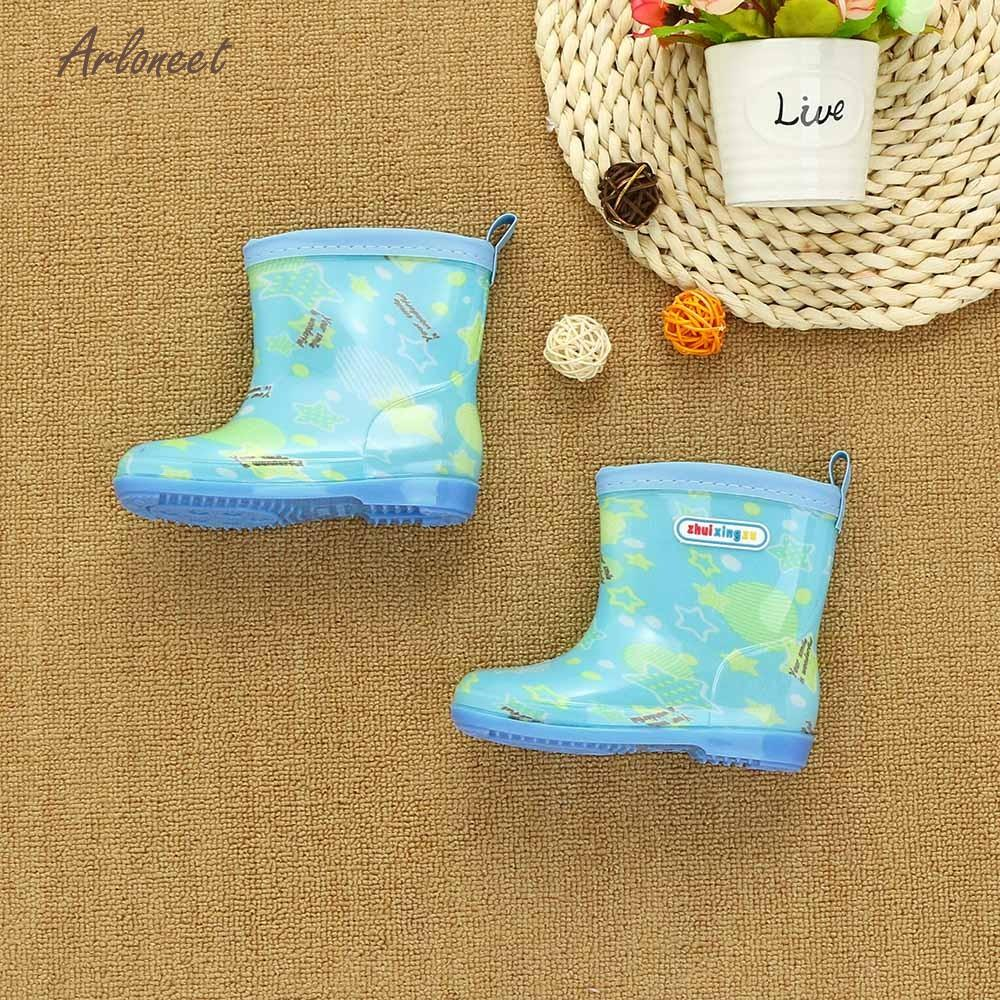 ARLONEET 2018 Waterproof baby boy shoes Letter baby girl shoes first walker Print Rubber Infant Rain Boots Rain Shoes JAN10