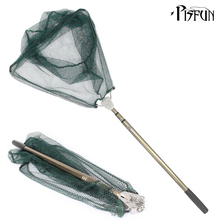 Pisfun 185cm Folding Fishing Net Triangular Landing Fishing Network 3 Section Telescopic Hand Fish Net