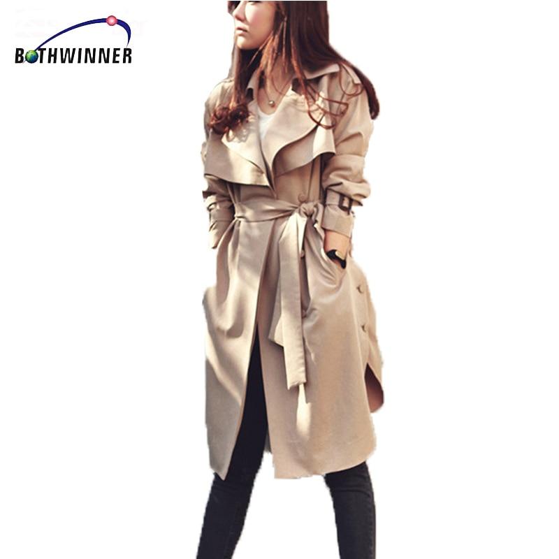 Bothwinner  2017 Women Trench Coat Spring Autumn Plus Size Long Spring Coat With Belt Trench Coat For Women Casaco Feminino