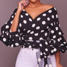 New Sale Summer Women white shirts top Long Puff Sleeve V-Neck Polka Dot Ruched Blouse Feminino With Belt robe femme ete 2018 TH