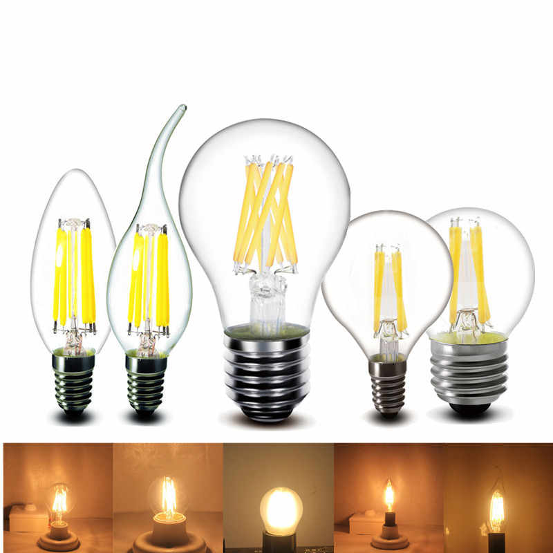 2w 4w 6w 8w E27 E14 Clear LED Bulb A60 G45 C35 B10 220v AC edison LED Filament flame candles Lamp light 230v AC