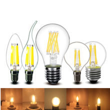 2w 4w 6w 8w E27 E14 Clear LED Bulb A60 G45 C35 B10 220v AC edison LED Filament flame candles Lamp light 230v AC(China)