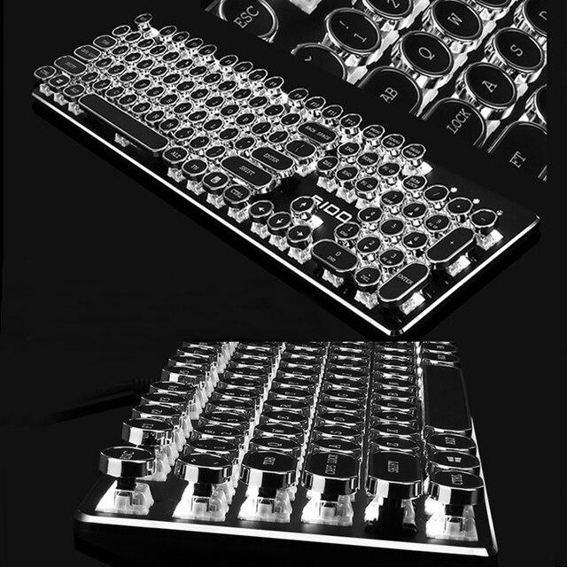 Flashget S100 Typewriter Edition 104 key USB Wired Mechanical Gaming/Office Keyboard,White Backlight