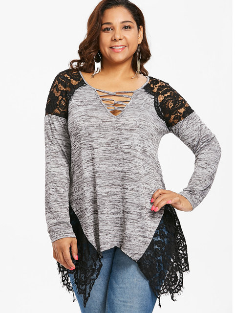 2c42e25bfc2 Wipalo Plus Size 5XL Lace Panel Handkerchief Hem Marled T-Shirt Casual  Women Sexy V