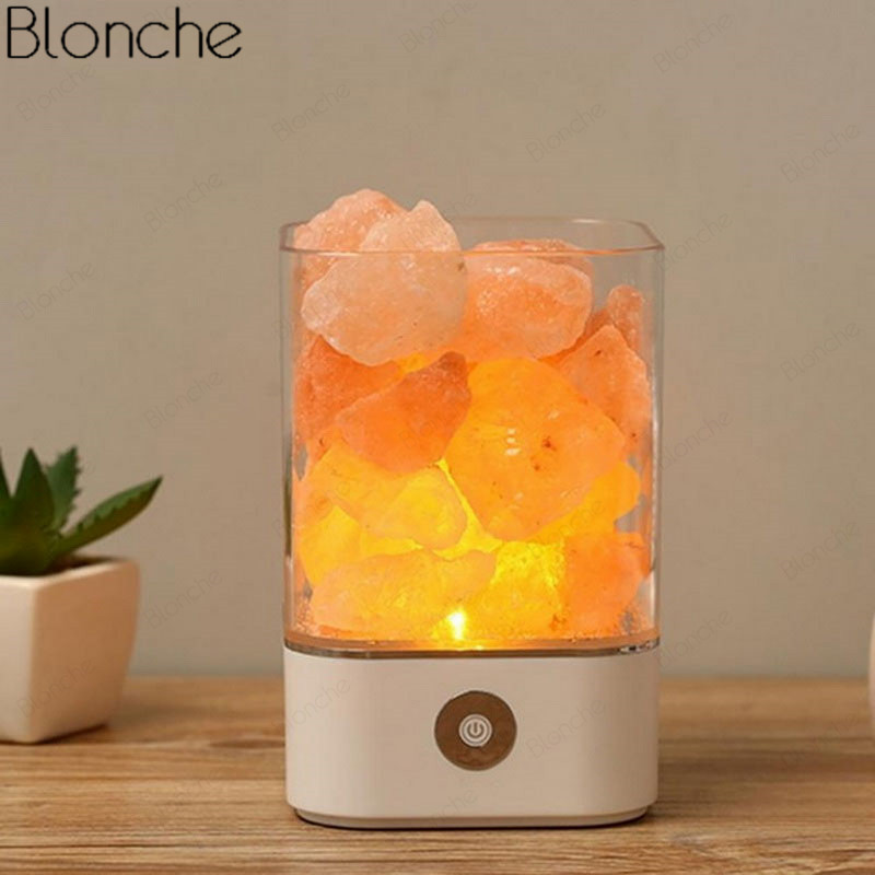Us 14 5 29 Off Usb Crystal Natural Himalayan Salt Lamp Led Lava Rock Lamp For Home Indoor Table Warm Light Bedroom Bedside Lamp Luminaire Decor In