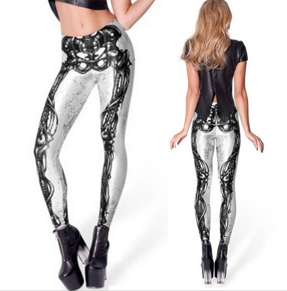 High quality leggings women 2016 fashion Mechanical Bones Black Leggings digital print skull leggings plus size