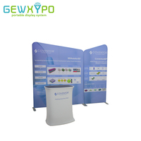 3m*3m Trade Show Booth Size Portable Tension Fabric Pop Up Banner Advertising Display Backdrop Wall With Square Counter