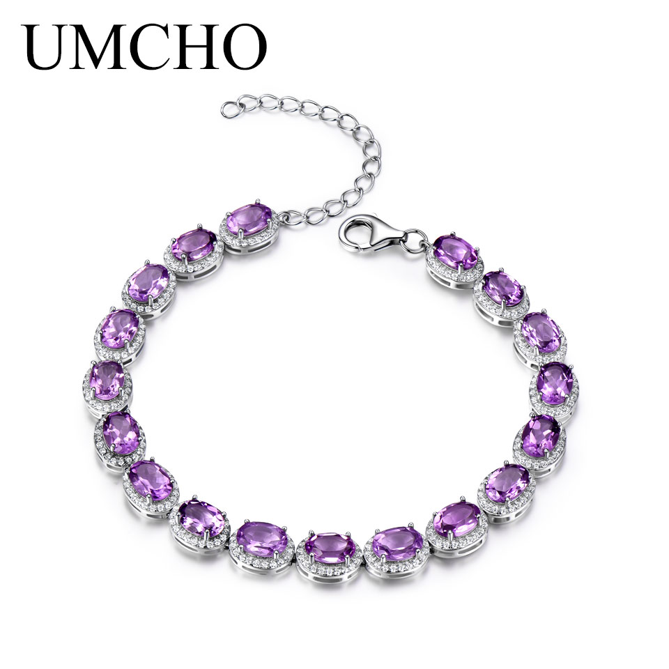 UMCHO 13 5ct Luxury Natural Amethyst Women Bracelet Real 925 Sterling Silver Jewelry Gemstone Romantic Wedding