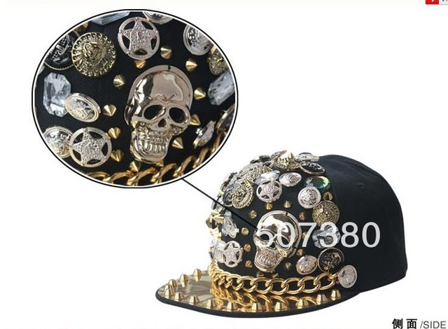 Spike Studs Cap Metal Chain decorated Hats Unisex Skull Caps Adjustable Baseball  Cap Snap back Hiphop 3e74843f999