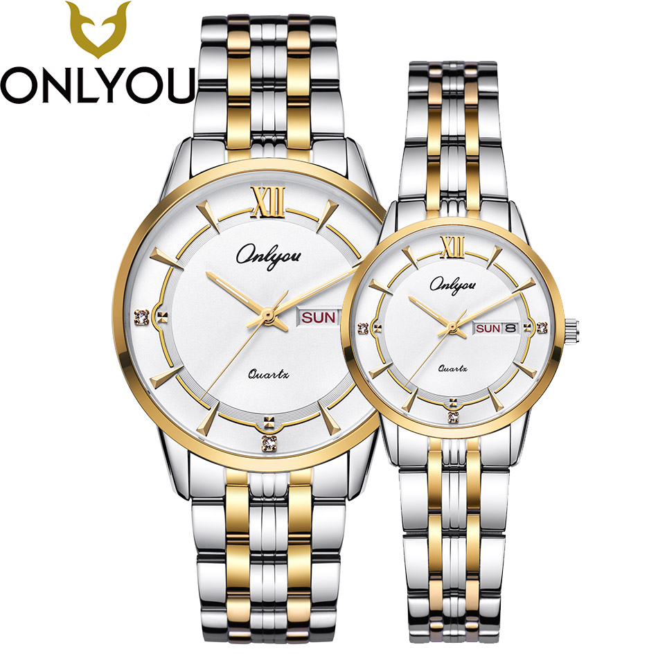 ONLYOU Mens Watches Top Brand Luxury Women Dress Fashion Diamond Wristwatch Lover Business Quartz Clock Male Waterproof Watch onlyou fashion hot sell man all steel watches 2017 diamond bracelet business watch black gold white luxury famous male clock