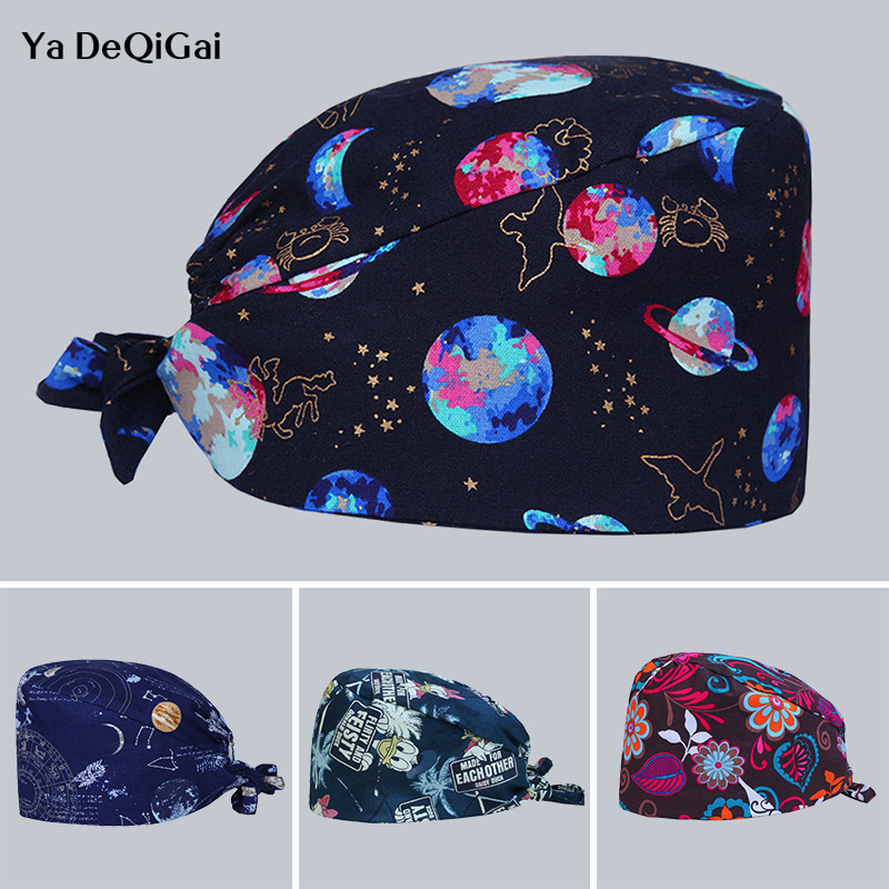 High Quality Printing Operating Medical Surgical Caps Unisex Adjustable Dentistry Hats Pet Hospital Doctor Nurse Caps Women&men