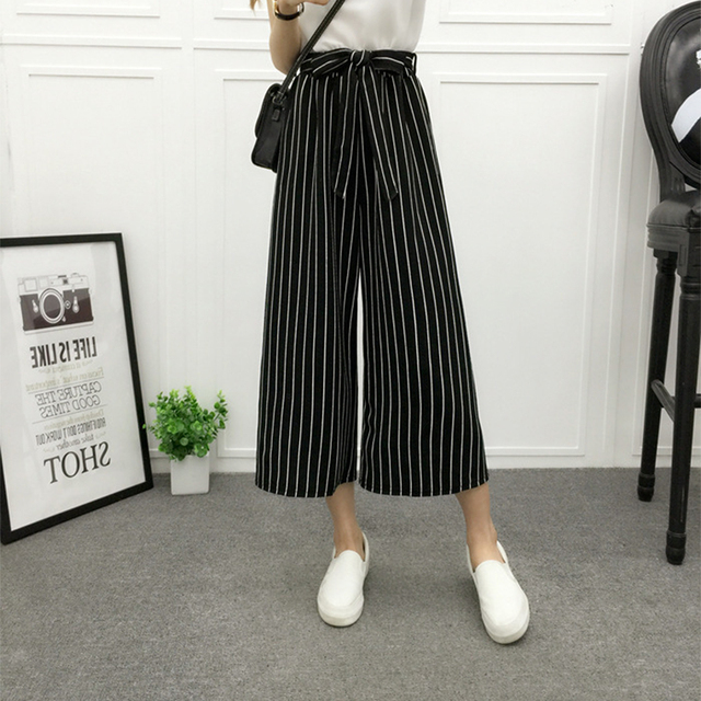 Wide Leg Pants Striped Women 2018 Fashion Summer High Waist PlaidLoose Palazzo Pants Spring NewElegant Office Ladies Trousers