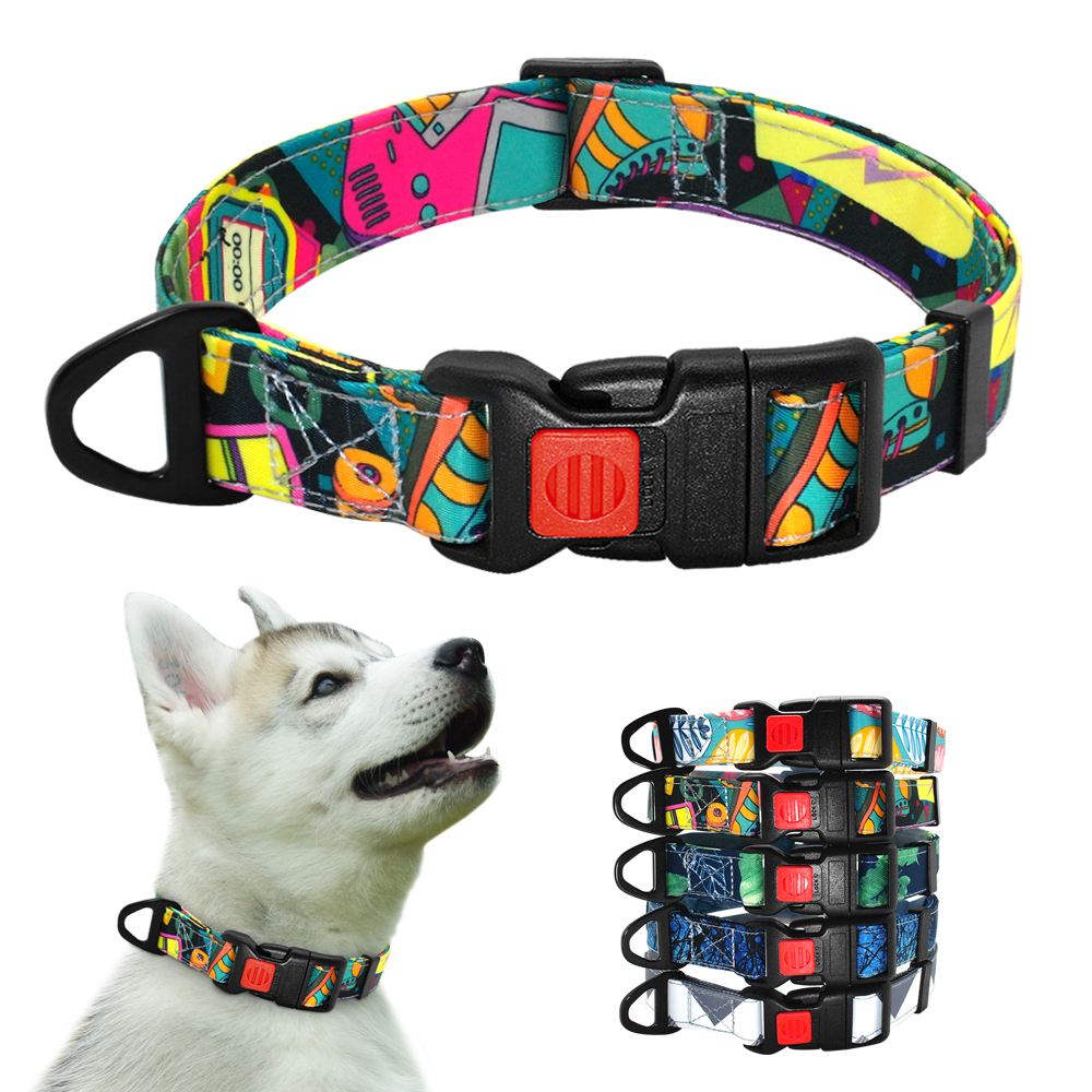 Nylon Printed Dog Collar Adjustable Puppy Small Dogs Collar Pet Collars For Chihuahua French Bulldog Pet Products