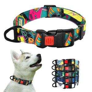 Image 1 - Naylon Baskılı köpek tasması Ayarlanabilir Köpek Küçük Köpekler Yaka Chihuahua için evcil hayvan tasmaları Fransız Bulldog Pet Ürünleri