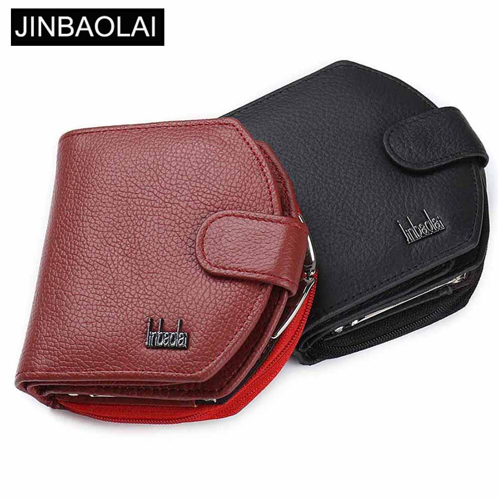 JINBAOLAI Genuine Leather Women Wallets Solid Red Sample Style Female Purse Card Holder Leather Brand High Quality Women Wallet