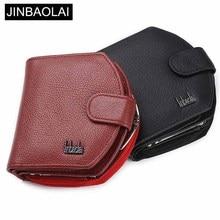 Купить с кэшбэком JINBAOLAI Genuine Leather Women Wallets Solid Red Sample Style Female Purse Card Holder Leather Brand High Quality Women Wallet