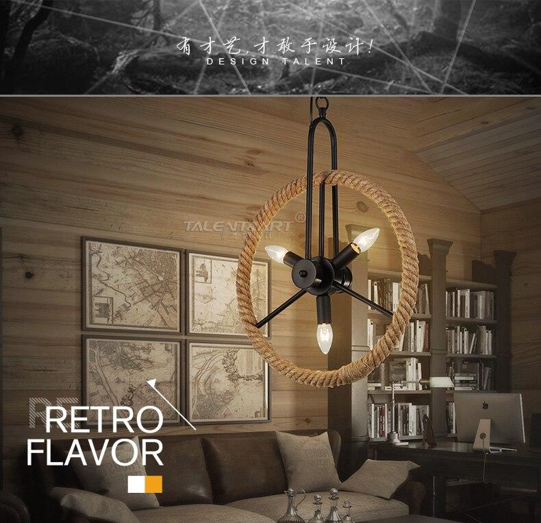 loft style chandelier dining light bicycle wheels wood hotel room decoration vintage hemp rope lamp edison - Edison Chandelier