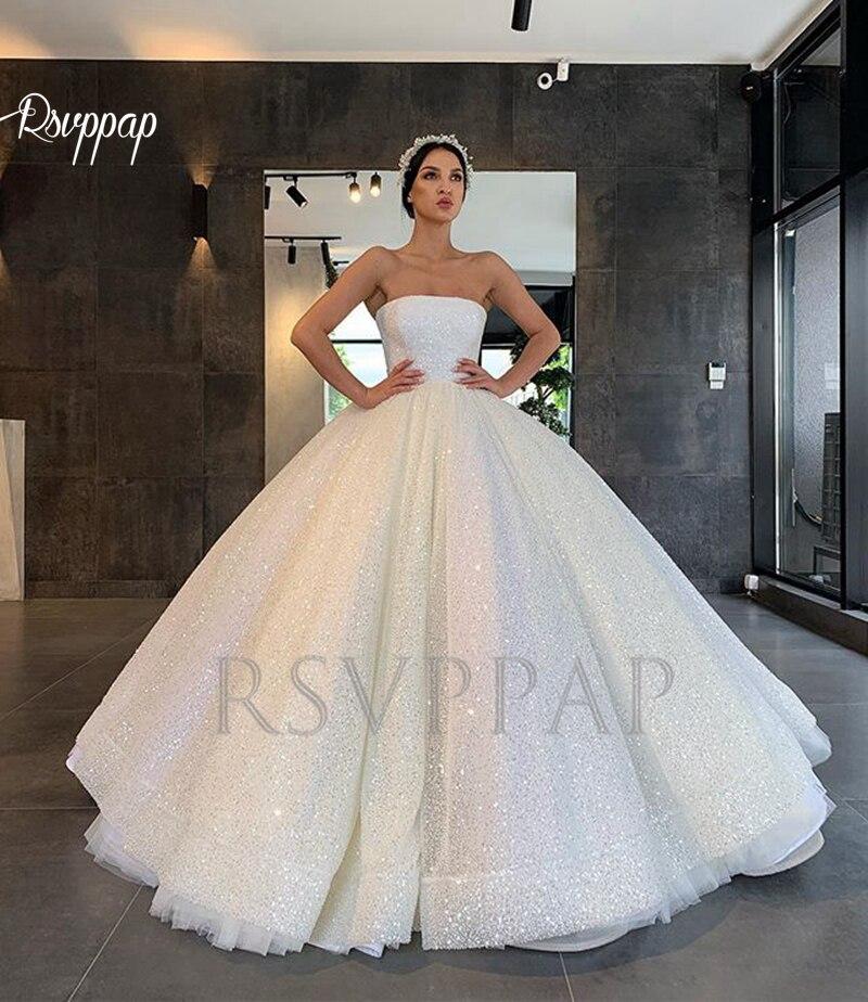 Glitter Wedding Gowns: Luxury Ball Gown Sparkly Arabic Style Women Wedding Dress