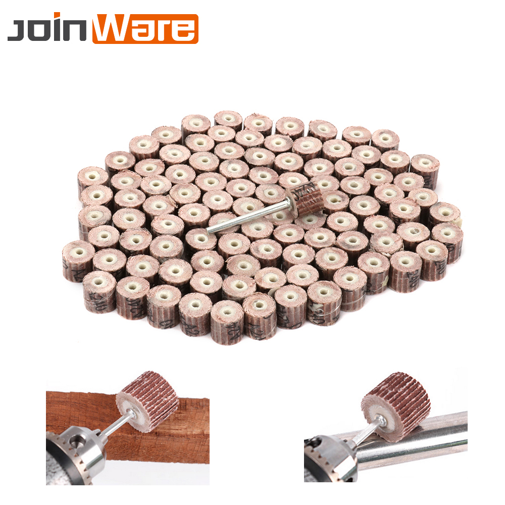 10X 12mm Sanding Sandpaper Flap Wheel Shaft  Drill Polish Disc Rotary Tool 120#