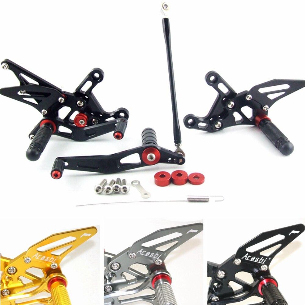 Arashi Rearsets Footrests FootPegs for HONDA CBR600RR 2009-2016 Motorcycle Accessories Adjustable Foot Peg Rest CBR 600 RR CBR600 600RR 600CC 1 Set Black 2010 2011 2012 2013 2014 2015
