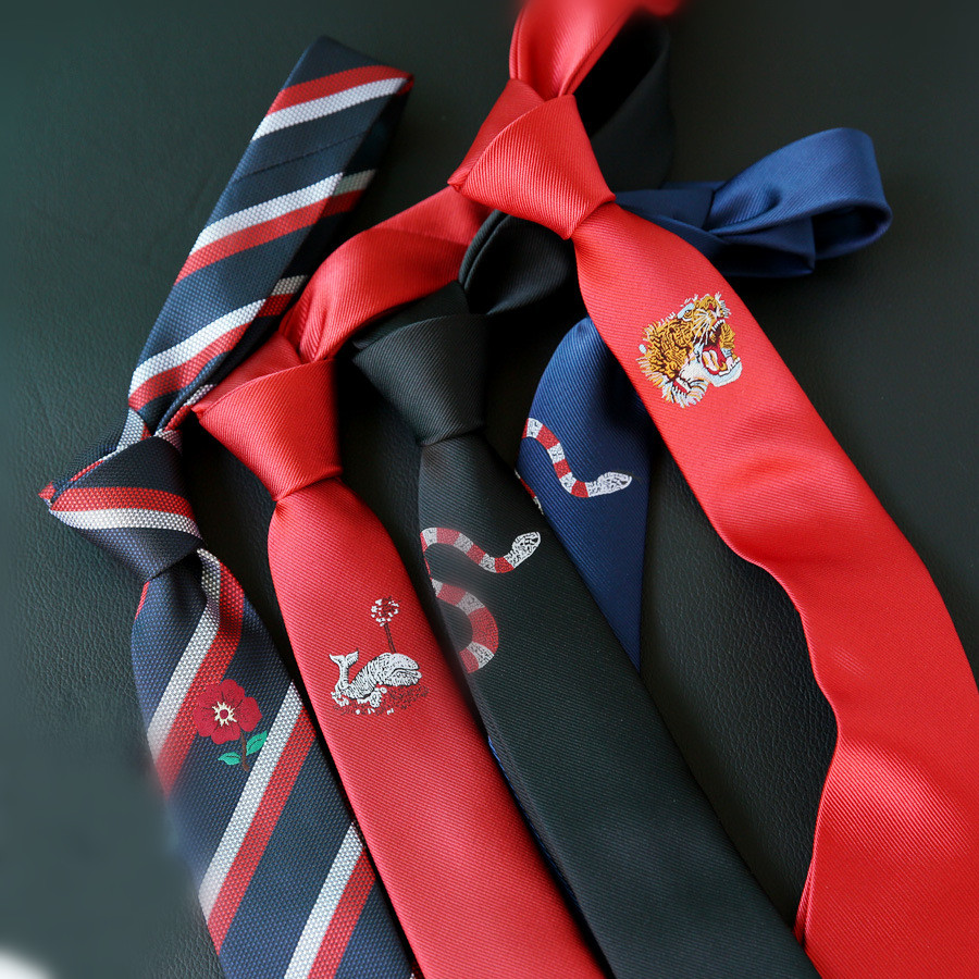 2019 Embroidered Black Red Positioning Tie Men's Embroidery Korean Version Of The British Narrow 5CM6CM Trend Tie Accessories