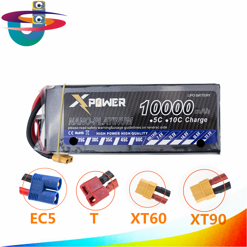6S Lipo 22.2V 10000Mah Lithium Battery EC5 or T or XT60 XT90 plug For RC Helicopter Qudcopter Drone Car Boat 2pcs t plug 5200mah 11 1v 3s 30c lithium li po battery for diy racing rc helicopter qudcopter drone truck car boat parts
