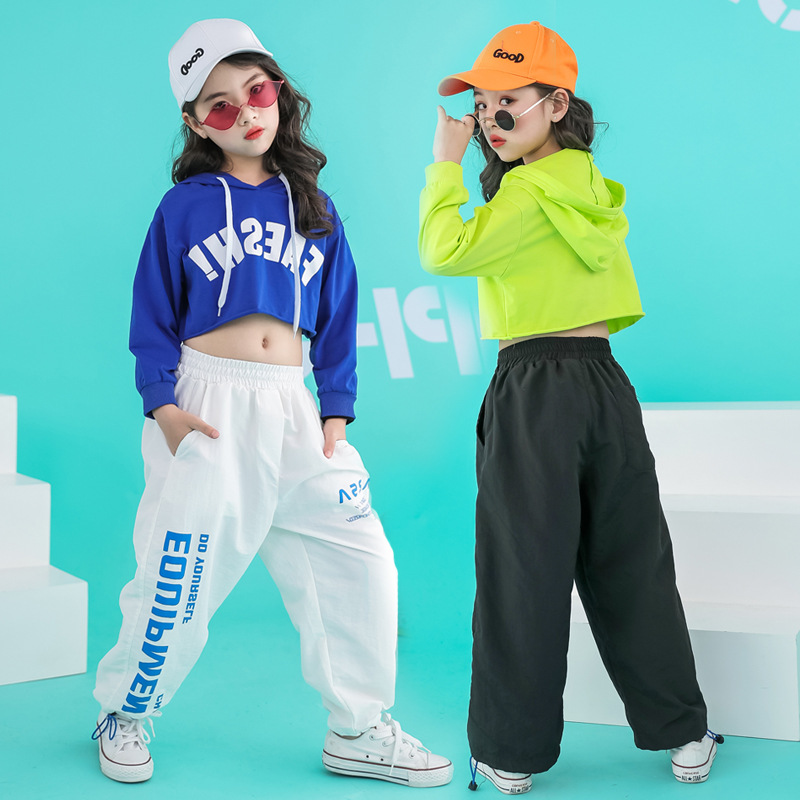 Children Hip Hop Clothing Cropped Hoodie Sweatshirt Shirt Tops Casual Pants For Girl Dance Costume Wear Ballroom Dancing Clothes