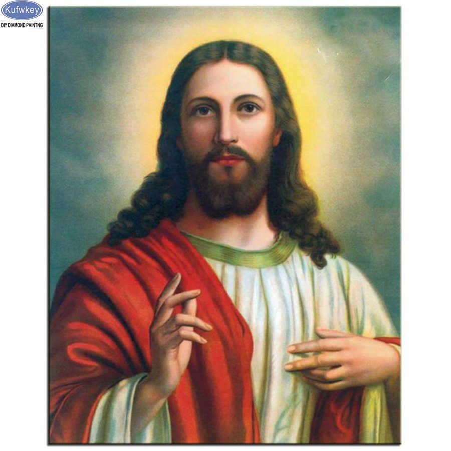 Único nuevo obra pintura diamante Cruz religión diamantes mosaico 5d bordado de diamantes Jesus icono de decoración del hogar