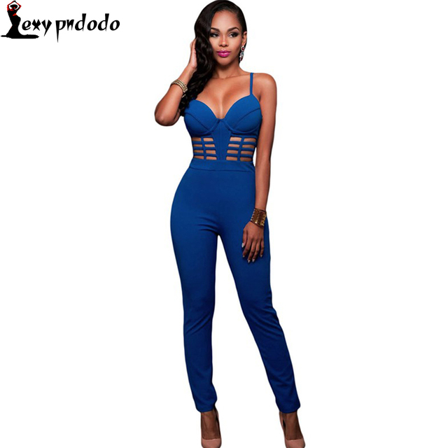 7ec0139160 Tie Dye Jumpsuit Overalls For Women Elegant Long Blue Spaghetti Strap  Bustier Padded Fitness Jumpsuit 2016