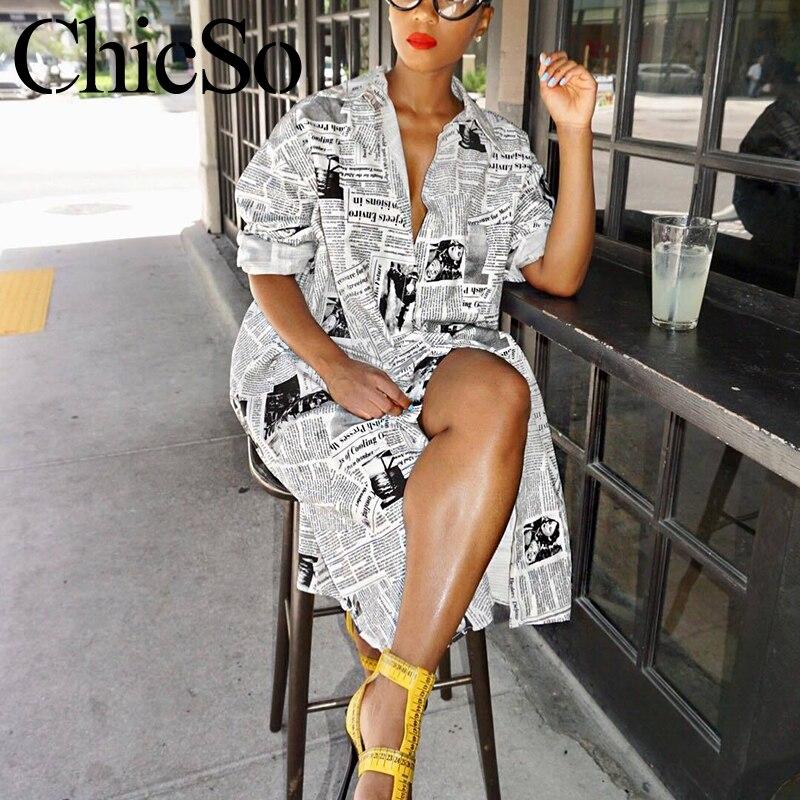 Missychill White Newspaper Print Sexy Loose Blouse Dress Women Summer Casual Short Dress Elegant Plus Size Party Club Dress