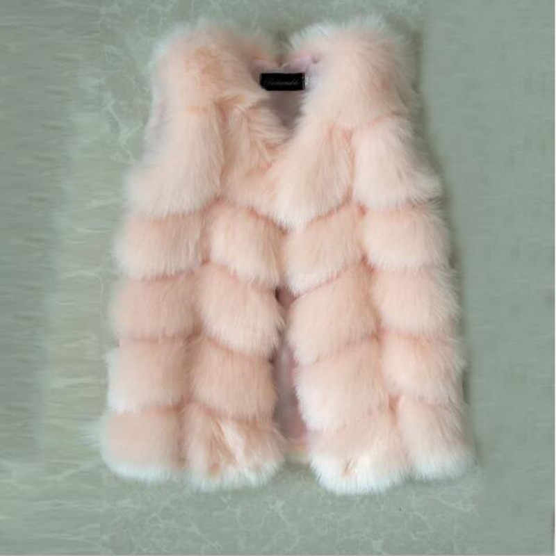 Autumn And Winter New Children's  Faux Fur Vest Imitation Fox Vest Hair Girl Boy Baby Cotton Coat Single-breasted Jacket QV160