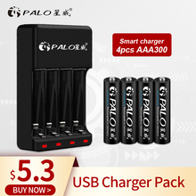 PALO 4pcs aaa rechargeable battey + Charger LED 4 slot Display batteries Charger For AA/AAA NI-CD NI-MH Rechargeable Batteries