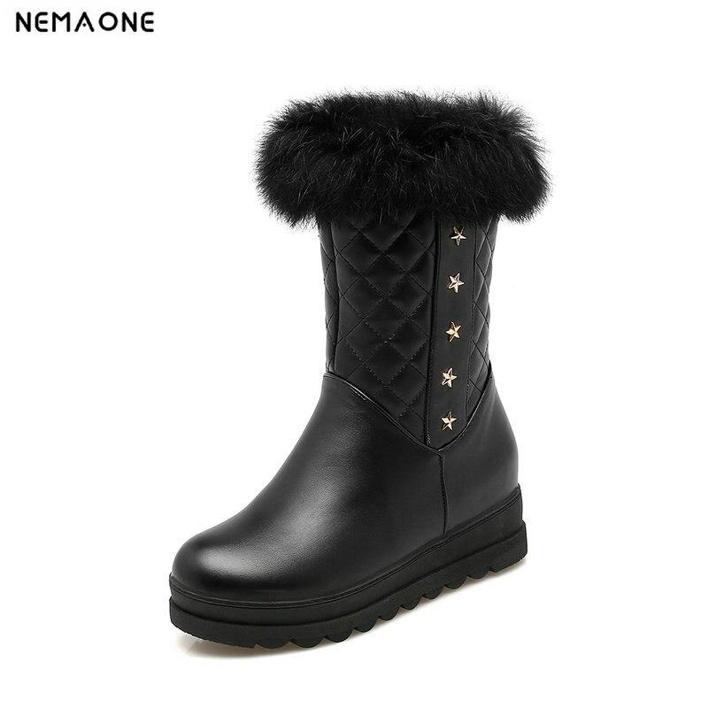 Women boots winter shoes plush warm women snow boots waterproof platform boots large size 34 43 black pink white