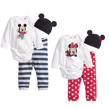 Baby Rompes 3pcs Baby Boy Clothing Set  Spring Baby Girl Clothing Set Cotton Newborn Baby Clothes Roupas Bebe Mickey Home Style все цены