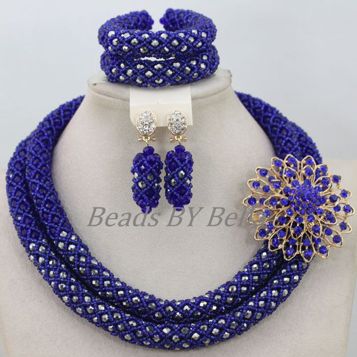 Fantastic Women Costume Necklace Set Blue Silver Crystal Beads Nigerian Wedding African Bridal Jewelry Sets Free Shipping ABF806 цена