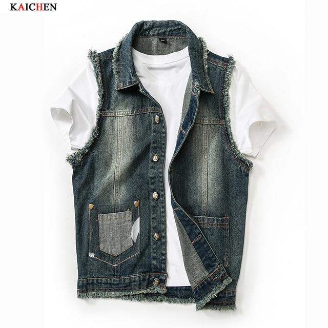 2016 New Fashion Mens Denim Vest Vintage Sleeveless washed jeans waistcoat Man Cowboy ripped Jacket Plus Size M-3XL Asian,