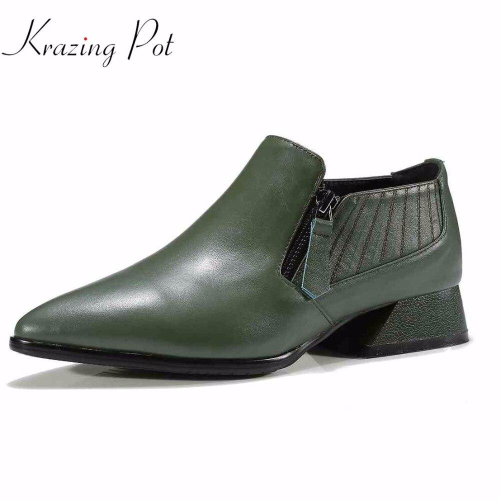KRAZING POT 2018 zip genuine leather original design square heels mature women style handmade pumps pointed toe brand shoes L55 2017 ethnic style handmade women shoes pumps genuine leather square heels round toe low heels