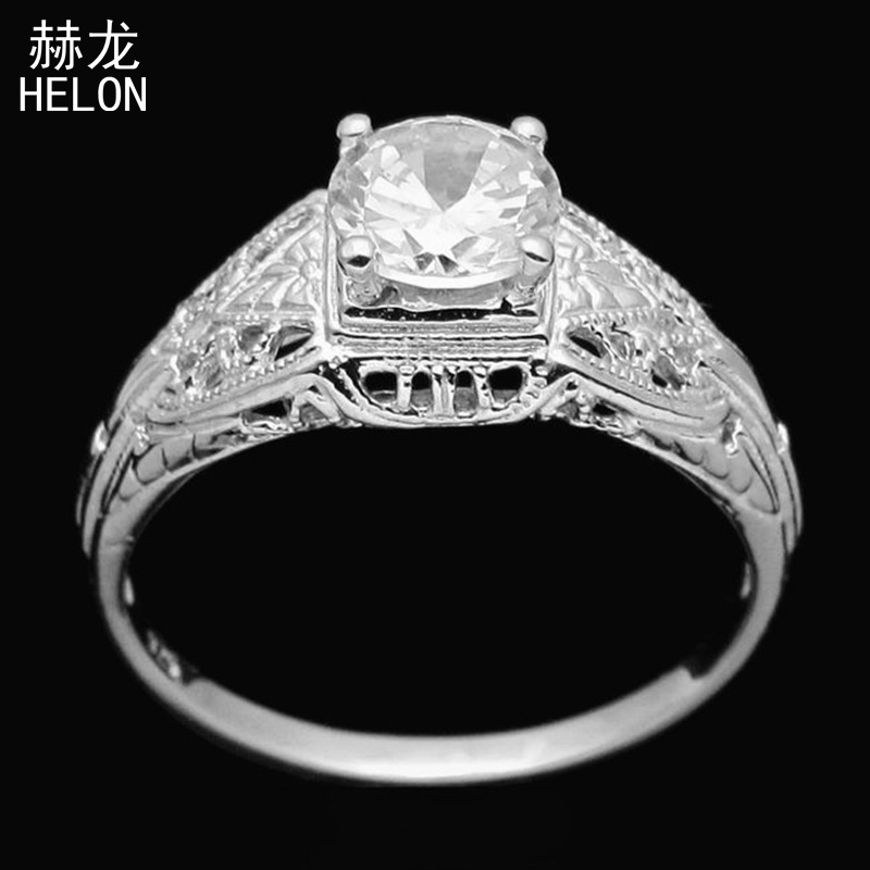 Vintage Art Deco Sterling Silver 925 Round 5.5mm Cubic Zirconia Engagement Art Nouveau Ring Cocktail Antique Women Jewelry Ring серьги art silver art silver ar004dwzmh30