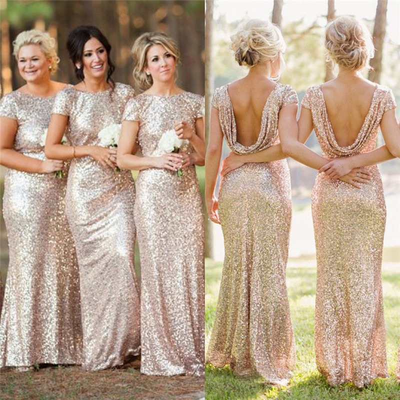0ae32c571a4c4 Champagne Gold Long Bridesmaid Dresses Sequined Short Sleeve Floor