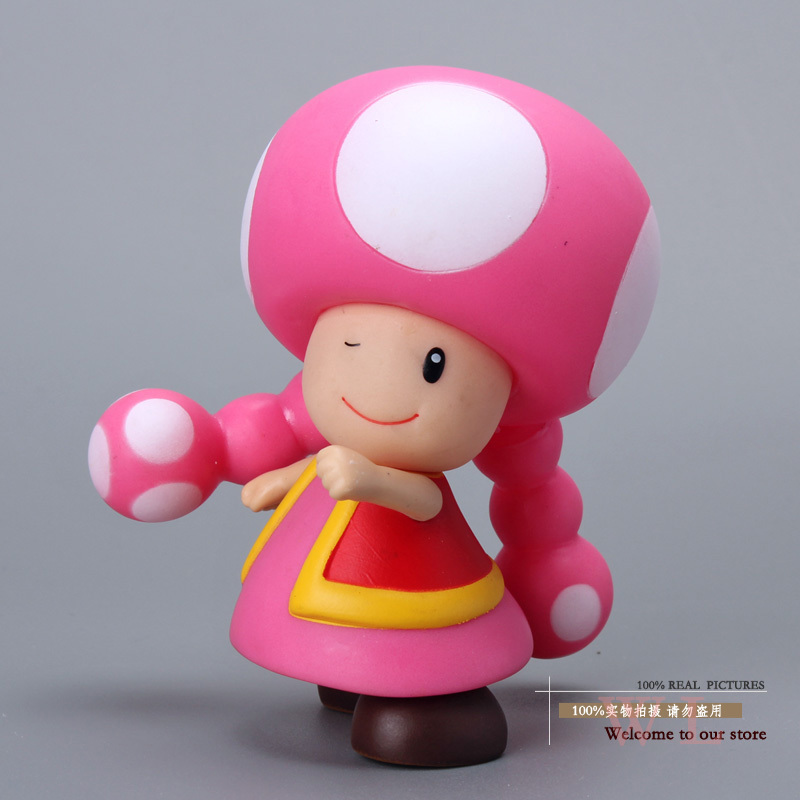 цена Free Shipping Super Mario Bros Figures Mushroom Toadette PVC Action Figure Model Toy Doll 3.5